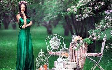greens, dress, brunette, vintage, look, angel, wreath, cell, chairs