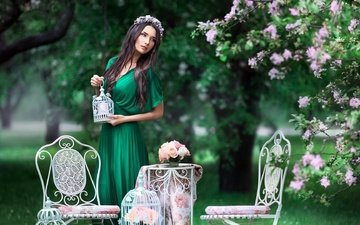 trees, dress, brunette, spring, wreath, chairs