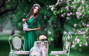 деревья, платье, брюнетка, весна, венок, стулья