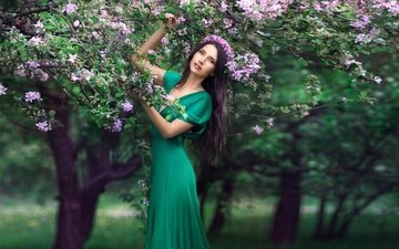 tree, flowering, dress, brunette, spring, wreath