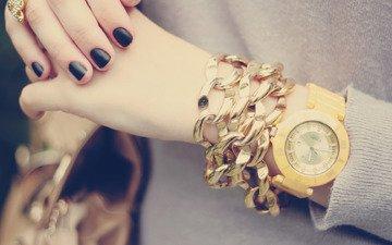 украшения, девушка, часы, руки, маникюр