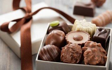 конфеты, шоколад, бантик, коробочка, ассорти