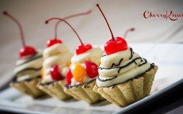 сладкое, десерт, пирожное, вишенка, крем, корзиночка