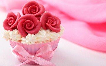 сладкое, десерт, кекс, крем