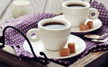 кофе, кубики, завтрак, салфетка, молоко, чашки, сахар, поднос, ложки