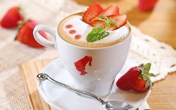 цветы, рисунок, еда, кофе, сердце, блюдце, ягоды, чашка, пена, шоколад, молоко, пить, ложка, капучино, мешковина