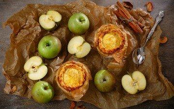 корица, еда, яблоки, пирог, пироги