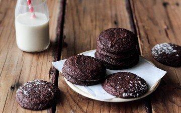 еда, молоко, тарелка, печенье, выпечка, шоколадное печенье