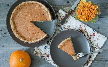 roses, food, sweet, pie, pumpkin