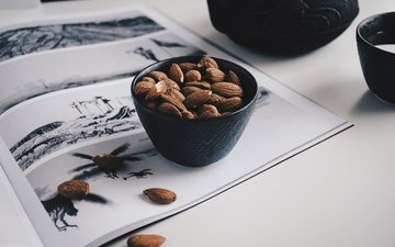 nuts, table, journal, bowl, almonds