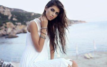 girl, sea, look, hair, makeup, hairstyle, bracelets