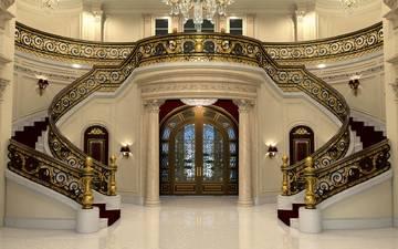 лестница, интерьер, дизайн, особняк