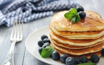 berries, blueberries, pancakes