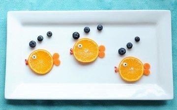 еда, фрукты, рыбки, ягоды, апельсин, тарелка, голубика