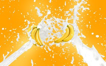 squirt, splash, milk, bananas