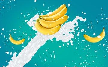 обои, брызги, всплеск, молоко, бананы