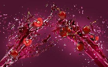 брызги, ягоды, вишня, всплеск, сок