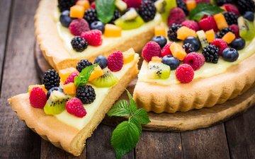 мята, малина, ягоды, киви, черника, сладкое, выпечка, десерт, пирог, ежевика, начинка, крем
