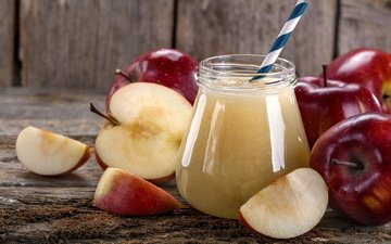 drink, apples, slices, glass, tube, juice