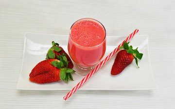 drink, strawberry, glass, plate, tube, juice, fresh