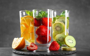 mint, fruit, strawberry, orange, drinks, kiwi, glasses, fresh, fruits and berries