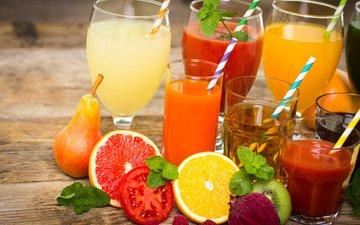 мята, напиток, малина, фрукты, апельсин, киви, стаканы, помидор, груша, грейпфрут, трубочки, сок, фреш