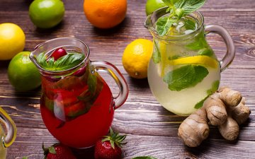 mint, strawberry, lemon, lime, juice, lemonade, ginger, napitok