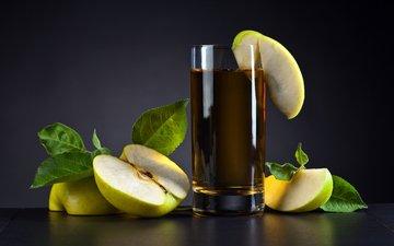 яблоки, стакан, сок