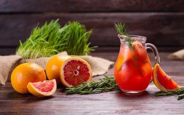 drink, pitcher, grapefruit, fresh, lemonade