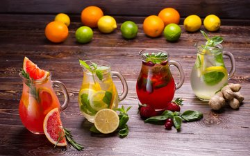mint, strawberry, lemon, drinks, grapefruit, fresh, lemonade, ginger, fruits and berries