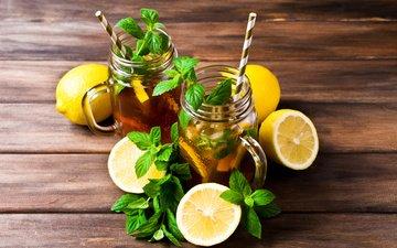 мята, напиток, лимон, кружки, коктейль, чай, водопой