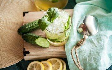 мята, напиток, лёд, лимон, цитрус