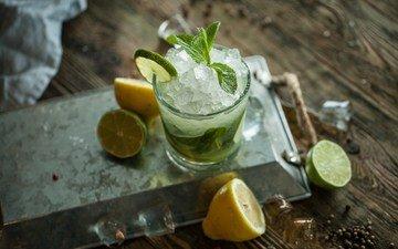 мята, напиток, лёд, лимон, лайм, цитрус, стакан, мохито