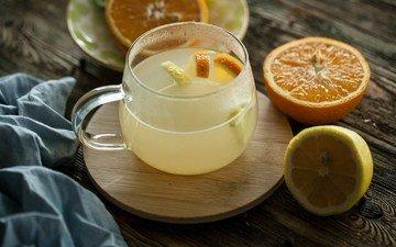 напиток, лимон, кружка, апельсин, цедра, цитрусовые
