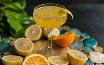 напиток, лёд, бокал, апельсин, цитрус, сок