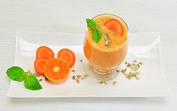 мята, напиток, апельсин, абрикосы, сок