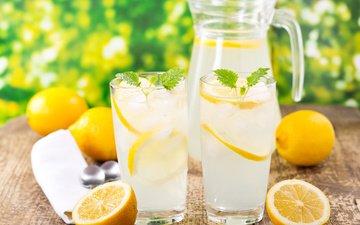 вода, мята, напиток, лёд, стаканы, кувшин, лимоны, лимонад, летнее