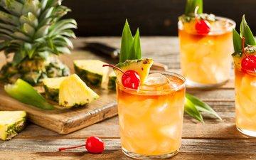 лёд, напитки, коктейли, стаканы, ананас, вишенка