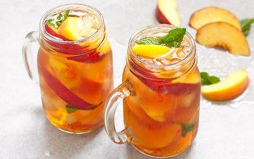 мята, напиток, яблоки, лёд, персики