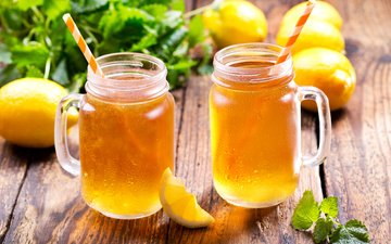 mint, ice, lemon, mugs, cocktail, tea, drink, lemons, summer