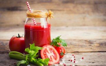 drink, food, tomatoes, tomato, juice, parsley, fresh