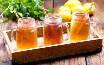 drink, ice, tea, banks, tray, lemons, lemonade