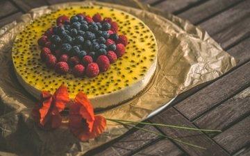 малина, красные, маки, букет, ягоды, черника, выпечка, торт, десерт, желе, крем