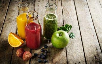 апельсин, яблоко, напитки, сок, фреш, шпинат, личи