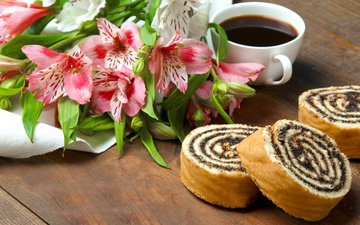 coffee, mac, bouquet, cup, cakes, biscuit, roll, alstromeria