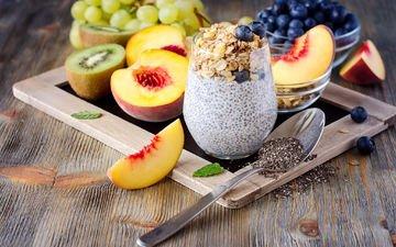 виноград, фрукты, киви, черника, завтрак, нектарин, йогурт, овсяные хлопья