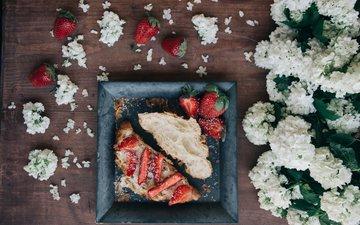 цветы, клубника, ягоды, сладкое, десерт, сэндвич