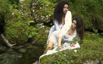 nature, stones, stream, girls, in white