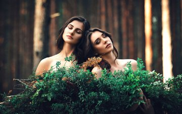 forest, branches, girls, friend, closed eyes