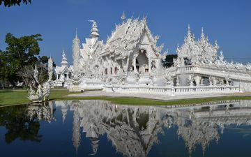 temple, asia, architecture, pond, thailand, religion, the white temple, wat rong khon